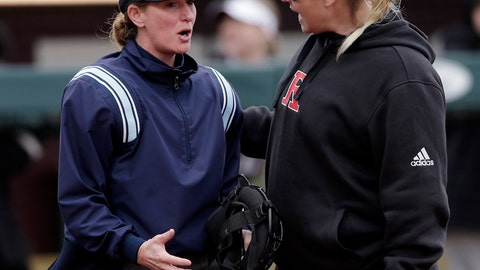 <p>               FILE - In this Feb. 16, 2019, file photo, Rutgers head coach Kristen Butler, right, argues a call with the home plate umpire during an NCAA college softball game against Texas A&M in College Station, Texas. On Tuesday, June 2, 2020, the results of a seven-month investigation into allegations of physical and emotional abuse in the Rutgers University softball program has found examples of inappropriate behavior but stops short of imposing discipline on the coaches. The probe released followed allegations that Butler and assistant coach Marcus Smith, her husband, fostered a climate of fear, intimidation and abuse. (AP Photo/ Michael Wyke, File)             </p>