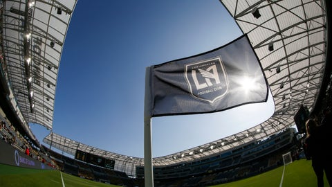 <p>               FILE - In this April 29, 2018 file photo taken with a fisheye lens, a flag flies at the Banc of California Stadium prior to an MLS soccer game between Los Angeles FC and the Seattle Sounders in Los Angeles. Los Angeles FC will seek a new name for its 2-year-old Banc of California Stadium after a restructuring of the bank's partnership with the Major League Soccer club. LAFC announced Tuesday, May 26, 2020 that Banc of California will eventually give up its naming rights to the sleek new stadium just south of downtown Los Angeles. (AP Photo/Ringo H.W. Chiu, file)             </p>