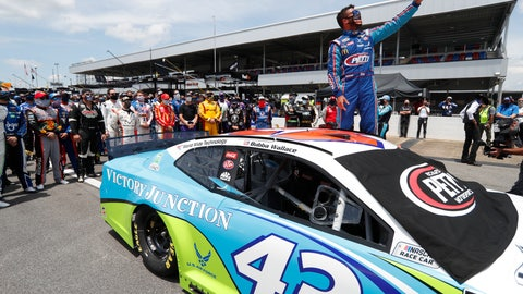 <p>               FILE - In this June 22, 2020, file photo, Bubba Wallace takes a selfie of himself and of other drivers who had pushed his car to the front in the pits at Talladega Superspeedway before the NASCAR Cup Series auto race in Talladega Ala., Monday June 22, 2020. The noose found hanging in Wallace's garage stall at Talladega had been there since at least last October, federal authorities said Tuesday, June 23, in announcing there will be no charges filed in an incident that rocked NASCAR and its only fulltime Black driver. (AP Photo/John Bazemore, File)             </p>