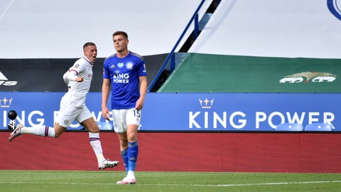 <p>               Chelsea's Ross Barkley, left, celebrates after scoring his side's opening goal during the FA Cup sixth round soccer match between Leicester City and Chelsea at the King Power Stadium in Leicester, England, Sunday, June 28, 2020. (AP Photo/Rui Vieira, Pool)             </p>