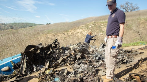 <p>               FILE - In this Jan. 27, 2020, file photo, provided by the National Transportation Safety Board, NTSB investigators Adam Huray, right, and Carol Hogan examine wreckage as part of the NTSB's investigation of a helicopter crash near Calabasas, Calif. Federal investigators said Wednesday, June 17, 2020, that the pilot of the helicopter that crashed in thick fog, killing Kobe Bryant and seven other passengers, reported he was climbing when he actually was descending. (James Anderson/National Transportation Safety Board via AP, File)             </p>