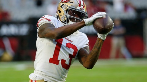 <p>               FILE - In this Oct. 31, 2019, file photo, San Francisco 49ers wide receiver Richie James (13) warms up prior to an NFL football game against the Arizona Cardinals in Glendale, Ariz. Richie James Jr. has broken his right wrist during offseason workouts and won't be ready to return to the field until after the start of training camp. The 49ers confirmed a report of the injury by NFL Network on Friday, June 19, 2020, and said they will have a better idea of how long James will be sidelined after he reports to training camp next month. (AP Photo/Rick Scuteri, File)             </p>