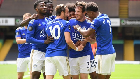 <p>               Leicester's Ben Chilwell, center right, celebrates after scoring his side's opening goal during the English Premier League soccer match between Watford and Leicester City at the Vicarage Road Stadium in Watford, England, Saturday, June 20, 2020. (Andy Rain/Pool via AP)             </p>