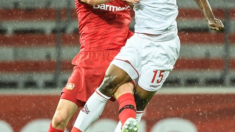 <p>               Leverkusen's Sven Bender, left, and Cologne's Jhon Cordoba, right, go for a header during the German Bundesliga soccer match between Bayer 04 Leverkusen and 1. FC Cologne in Leverkusen, Germany, Wednesday, June 17, 2020.(Ina Fassbender/Pool Photo via AP)             </p>