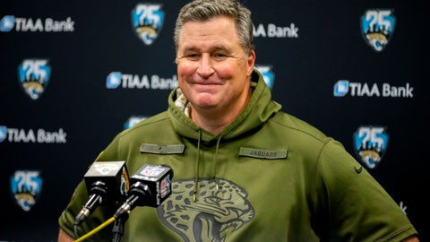 <p>               FILE - In this Dec. 29, 2019, file photo, Jacksonville Jaguars head coach Doug Marrone speaks with members of the media after the second half of an NFL football game against the Indianapolis Colts in Jacksonville, Fla. When the coronavirus pandemic forced everyone indoors — away from their everyday environments — creativity was the key. Marrone held weekly contests for his team, including a cooking competition last month with judging based solely on appearance and presentation. (AP Photo/Stephen B. Morton, File)             </p>