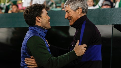 <p>               FILE - In this Sunday, Feb. 9, 2020 file photo, Barcelona's head coach Quique Setien, right, salutes Betis' head coach Rubi during La Liga soccer match between Betis and Barcelona at the Benito Villamarin stadium in Seville, Spain. Real Betis has fired coach Rubi after the team's third consecutive setback since the Spanish league resumed.The decision was announced early Sunday, June 21, 2020 a few hours after the team lost 1-0 at Athletic Bilbao. (AP Photo/Miguel Morenatti, File)             </p>
