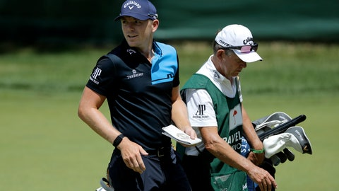 <p>               Matt Wallace, left, of England, walks with his caddie David McNeilly to the fourth tee box during the second round of the Travelers Championship golf tournament at TPC River Highlands, Friday, June 26, 2020, in Cromwell, Conn. Wallace is playing the second round by himself after two other golfers in his group, Denny McCarthy and Bud Cauley, withdrew from the tournament. McCarthy told Golfchannel.com that he withdrew from the tournament after feeling sick Thursday night and testing positive for the coronavirus on Friday. Cauley, who played with McCarthy on Thursday, also withdrew before Friday's second round. McCarthy became the third PGA Tour player to test positive for the virus since its restart and the second this week, joining Cameron Champ who withdrew on Tuesday. Nick Watney withdrew just before the second round of last week's RBC Heritage Championship. (AP Photo/Frank Franklin II)             </p>