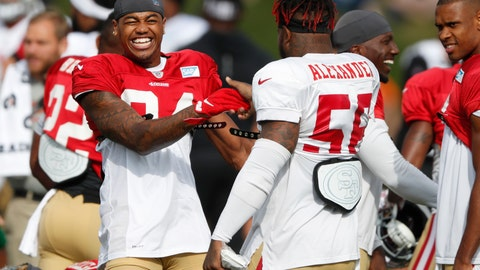 <p>               FILE - In this Aug. 16, 2019, file photo, San Francisco 49ers wide receiver Kendrick Bourne, left, jokes with middle linebacker Kwon Alexander during a combined NFL football training camp with the Denver Broncos at the Broncos' headquarters in Englewood, Colo. All 32 NFL teams have been told by Commissioner Roger Goodell to hold training camps at their home facilities this summer because of the COVID-19 pandemic. Most NFL teams stay at their training complexes year-round, but Dallas, Pittsburgh, Kansas City and Buffalo are among those that stage training camp elsewhere.  (AP Photo/David Zalubowski, File)             </p>