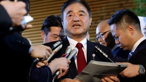 <p>               FILE - In this Dec 22, 2015, file photo, Toshiaki Endo, center, minister in charge of the 2020 Tokyo Olympics, speaks with media after a meeting of Cabinet ministers including Japan's Prime Minister Shinzo Abe, at Abe's official residence in Tokyo. Former Olympic minister Endo said at a meeting of the ruling Liberal Democratic Party on Friday, June 5, 2020, that a decision of whether to hold the Games should be made around March, which is a crucial time to finalize participating athletes, NHK said. (AP Photo/Eugene Hoshiko, File)             </p>
