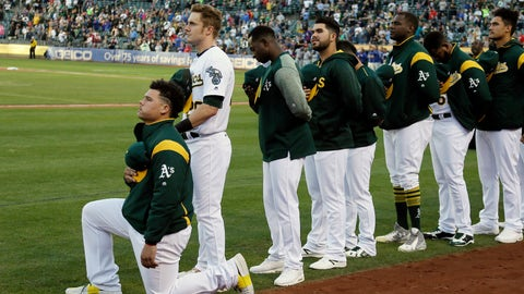 """<p>               FILE - In this Sept. 23, 2017, file photo, Oakland Athletics catcher Bruce Maxwell kneels during the national anthem before the team's baseball game against the Texas Rangers in Oakland, Calif. Maxwell is the only major leaguer to take a knee during the playing of """"The Star-Spangled Banner"""" before a game. Major leaguers have not, in general, been the first set of players in pro sports to speak out on issues of social injustice. We'll see what stances they take on and off the field when games return. (AP Photo/Eric Risberg, File)             </p>"""
