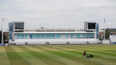 <p>               Head groundsman Craig Harvey tends to the outfield at the County Ground, home of Northamptonshire County Cricket Club, in Northampton, England, Wednesday May 27, 2020.  Professional cricket teams are waiting to be given the green light to return to competitive sport following the highly contagious coronavirus pandemic. (Joe Giddens / PA via AP)             </p>
