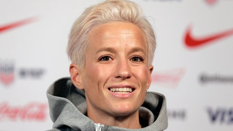 <p>               FILE - In this May 24, 2019, file photo, Megan Rapinoe, a member of the United States women's national soccer team, speaks to reporters during a news conference in New York. Seahawks quarterback Russell Wilson, soccer star Megan Rapinoe and three-time WNBA champion Sue Bird will preside over The ESPYS two-hour broadcast airing June 21 on ESPN. All three live in the Seattle area. Rapinoe and Bird are partners who share a household, which conveniently eases some logistics. Wilson's singer-wife, Ciara, is likely to make an appearance, too.  (AP Photo/Seth Wenig, File)             </p>
