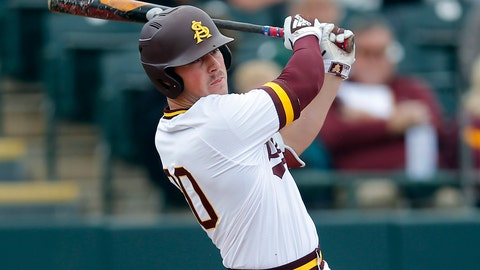 <p>               FILE - In this Feb. 17, 2019, file photo, Arizona State's Spencer Torkelson bats during an NCAA college baseball game against Notre Dame in Phoenix. Detroit drafted Arizona State first baseman Spencer Torkelson with the top pick in this week's draft, although the Tigers plan to try him across the diamond at third base. (AP Photo/Rick Scuteri, File)             </p>