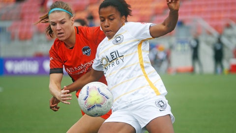 <p>               Utah Royals FC defender Elizabeth Ball, right, battles with Houston Dash forward Veronica Latsko for the ball during the first half of an NWSL Challenge Cup soccer match at Zions Bank Stadium Tuesday, June 30, 2020, in Herriman, Utah. (AP Photo/Rick Bowmer)             </p>
