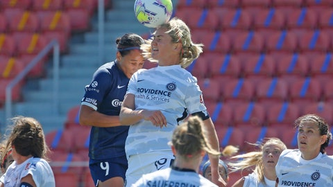 <p>               North Carolina Courage forward Lynn Williams (9) and Portland Thorns FC midfielder Lindsey Horan (10) battle for the ball during the first half of an NWSL Challenge Cup soccer match at Zions Bank Stadium, Saturday, June 27, 2020, in Herriman, Utah. (AP Photo/Rick Bowmer)             </p>