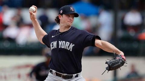 <p>               FILE - In this March 5, 2020, file photo, New York Yankees starting pitcher Gerrit Cole throws during a spring training baseball game against the Detroit Tigers in Lakeland, Fla. Due to the coronavirus pandemic, Cole still has not made his regular season debut with the Yankees. (AP Photo/Carlos Osorio, File)             </p>