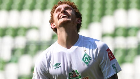 <p>               Werder's Josh Sargent celebrates his goal for the 6:1 during a German Bundesliga soccer match between Werder Bremen and 1. FC Cologne in Bremen, Germany, Saturday, June 27, 2020.  (Carmen Jaspersen/dpa via AP, pool)             </p>
