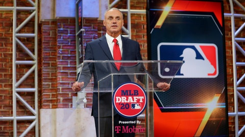 <p>               Baseball Commissioner Robert D. Manfred Jr. makes an opening statement during the baseball draft Wednesday, June 10, 2020 in Secaucus, N.J. (Alex Trautwig/MLB Photos via AP)             </p>