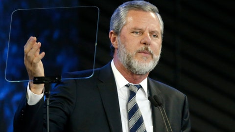 <p>               FILE - In this Nov. 28, 2018, file photo, Liberty University President Jerry Falwell Jr. speaks before a convocation at Liberty University in Lynchburg, Va. Nearly three dozen black alumni of Liberty University are denouncing school President Jerry Falwell Jr. on Monday, June 1, 2020, suggesting he step down after he mocked Virginia's mask-wearing requirement by invoking the blackface scandal that engulfed the state's governor last year. (AP Photo/Steve Helber, File)             </p>