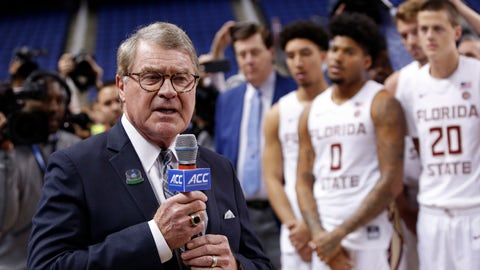"""<p>               FILE - In this March 12, 2020, file photo, John Swofford, commissioner of the Atlantic Coast Conference, announces the cancellation of NCAA college basketball games at the ACC tournament in Greensboro, N.C. The Power Five conferences spent $350,000 on lobbying in the first three months of 2020, more than they had previously spent in any full year, as part of a coordinated effort to influence Congress on legislation affecting the ability of college athletes to earn endorsement money. """"In this particular case, the (Power Five) conferences are working together on this so that there's less confusion, not more, in terms of the messaging to congressional leaders that helps explain NIL (Names, Images and Likenesses) and what the concerns are, and how it might work,"""" Swofford told The Associated Press. (AP Photo/Ben McKeown, File)             </p>"""