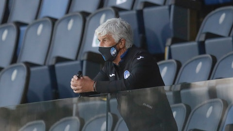 <p>               Atalanta's head coach Gian Piero Gasperini follows the game from the stands after getting a red card during the Serie A soccer match between Atalanta and Sassuolo at the Gewiss Stadium in Bergamo, Italy, Sunday, June 21, 2020. Atalanta is playing its first match in Bergamo since easing of lockdown measures, in the area that has been the epicenter of the hardest-hit province of Italy's hardest-hit region, Lombardy, the site of hundreds of COVID-19 deaths. (AP Photo/Luca Bruno)             </p>