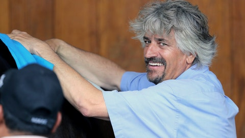 <p>               FILE - In this May 1, 2019, file photo, trainer Steve Asmussen smiles at Churchill Downs in Louisville, Ky. Hall of Famer Steve Asmussen became the all-time leading trainer at Churchill Downs on Friday, June 12, 2020, saddling Drop Dead Gorgeous to a win in the first race for his 738th victory beneath the Twin Spires. (AP Photo/Gregory Payan, File)             </p>