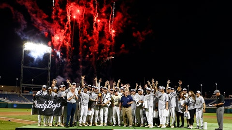 <p>               FILE - In a Wednesday, June 26, 2019 file photo, Vanderbilt players and coaches celebrate with the trophy after Vanderbilt defeated Michigan to win Game 3 of the NCAA College World Series baseball finals in Omaha, Neb. For the first time in seven decades, there is no college baseball in Omaha this summer. The eight-team College World Series would have started with opening-round games next weekend. The event has been a summer staple in Omaha since 1950. (AP Photo/John Peterson, File)             </p>