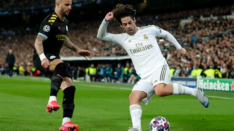 """<p>               FILE  - In this Wednesday, Feb. 26, 2020 file photo, Real Madrid's Isco, right, duels for the ball with Manchester City's Kyle Walker during the Champions League, round of 16, first leg soccer match between Real Madrid and Manchester City at the Santiago Bernabeu stadium in Madrid, Spain. Manchester City's appeal against a two-year ban from European soccer will be heard over three days in June. The Court of Arbitration for Sport says it has set aside June 8-10 for the case. It is unclear if a hearing will be held in person at the court or by video link. No timetable was set for a verdict but a ruling is needed before English teams enter next season's Champions League draw. Man City was banned by UEFA in February for """"serious breaches"""" of financial monitoring rules and failing to cooperate with investigators. (AP Photo/Manu Fernandez, File)             </p>"""
