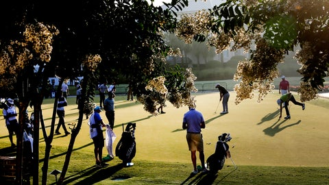 <p>               Golfers warms up on the practice green, during the second round of the RBC Heritage golf tournament, Friday, June 19, 2020, in Hilton Head Island, S.C. (AP Photo/Gerry Broome)             </p>