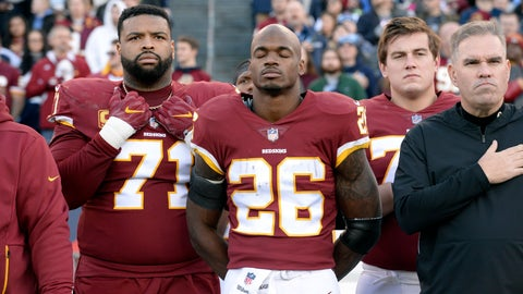 <p>               FILE - In this Dec. 22, 2018, file photo, Washington Redskins running back Adrian Peterson (26) stands for the national anthem before an NFL football game against the Tennessee Titans in Nashville, Tenn. NFL players who want to kneel during the national anthem to protest police brutality and racism have far more support than Colin Kaepernick did  four years ago.  (AP Photo/Mark Zaleski, File)             </p>