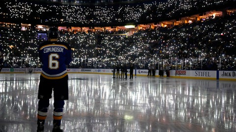 <p>               FILE - In this Dec. 1, 2017, file photo, St. Louis Blues' Joel Edmundson pauses as fans use their phones to light up Scottrade Center during a ceremony as part of a league-wide cancer awareness campaign, before an NHL hockey game between the St. Louis Blues and the Los Angeles Kings in St. Louis. When the virus wanes enough to allow the games to begin again, the very essence of these events will likely be missing. Playing in empty buildings would require a significant recalibration. (AP Photo/Jeff Roberson, File)             </p>