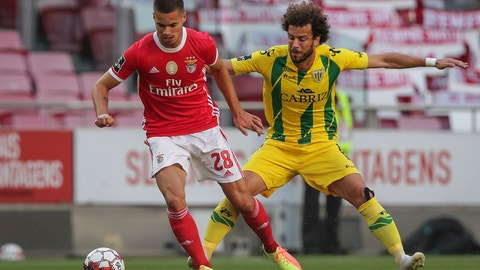 <p>               Benfica's player Julian Weigl, left, vies for the ball with Tondela's Joao Pedro during a Portuguese League soccer match between Benfica and Tondela in Lisbon, Portugal, Thursday, June 4, 2020. The Portuguese League soccer matches resumed Wednesday without spectators because of the coronavirus pandemic. (Tiago Petinga/Pool via AP)             </p>