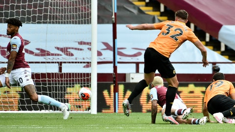 <p>               Wolverhampton Wanderers' Leander Dendoncker, center, scores the opening goal during the English Premier League soccer match between Aston Villa and Wolverhampton Wanderers at Villa Park in Birmingham, England, Saturday, June 27, 2020. (AP photo/Rui Vieira, Pool)             </p>