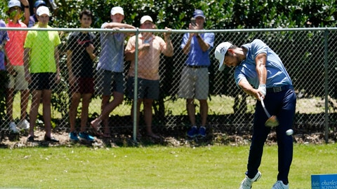 <p>               Xander Schauffele tees off on the second hole during the third round of the Charles Schwab Challenge golf tournament at the Colonial Country Club in Fort Worth, Texas, Saturday, June 13, 2020. (AP Photo/David J. Phillip)             </p>