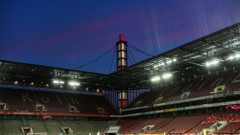 <p>               The stands are empty during the German Bundesliga soccer match between 1. FC Cologne and RB Leipzig, in Cologne, Germany, Monday, June 1, 2020. Because of the coronavirus outbreak all soccer matches of the German Bundesliga take place without spectators. (Ina Fassbender/Pool via AP)             </p>