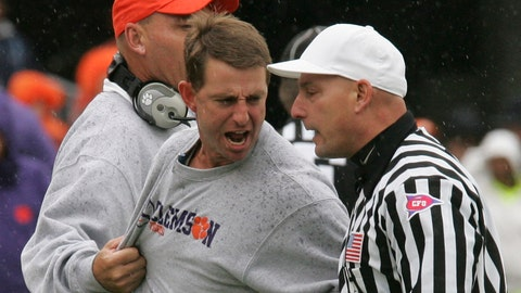"""<p>               FILE - In this Oct. 17, 2009, file photo, Clemson coach Dabo Swinney, center, is restrained by assistant coach Danny Pearman as he yells at referee Jerry Magallanes during the first half of the team's NCAA college football game against Wake Forest in Clemson, S.C. Pearman said he made a """"grave mistake"""" when he repeated a racial slur to ex-Tigers tight end D.J. Greenlee at practice three years ago. The incident came to light Tuesday, June 2, 2020, when former player Kanyon Tuttle posted about it on social media. Tuttle was responding to the school's post of Swinney's comments Monday about the death of George Floyd in Minneapolis last week. (AP Photo/Mary Ann Chastain, File)             </p>"""