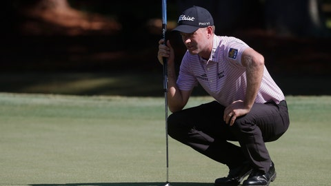 <p>               Webb Simpson lines up his putt on the first green, during the second round of the RBC Heritage golf tournament, Friday, June 19, 2020, in Hilton Head Island, S.C. (AP Photo/Gerry Broome)             </p>