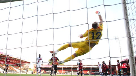 <p>               Bournemouth's goalkeeper Aaron Ramsdale fails to stop a shot from Crystal Palace's Luka Milivojevic for the opening goal during the English Premier League soccer match between Bournemouth and Crystal Palace at Vitality Stadium in Bournemouth, England, Saturday, June 20, 2020. (AP Photo/Ian Walton, Pool)             </p>