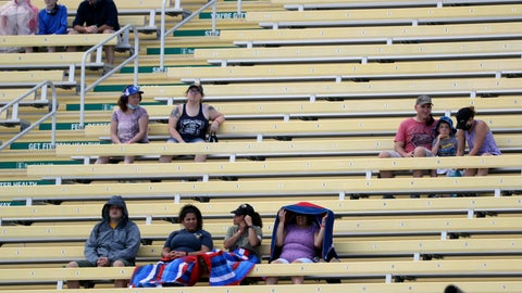 <p>               Fans wait for the start of a NASCAR Cup Series auto race Sunday, June 14, 2020, in Homestead, Fla. Up to 1,000 area military members and guests were allowed in to watch the race. (AP Photo/Wilfredo Lee)             </p>