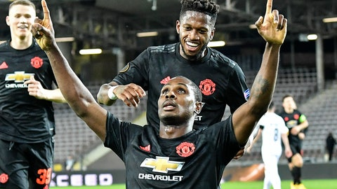 <p>               Manchester United's Odion Ighalo celebrates after scoring the opening goal during the Europa League round of 16 first leg soccer match between Linzer ASK and Manchester United in Linz, Austria, Thursday, March 12, 2020. The match is being played in an empty stadium because of the coronavirus outbreak. (AP Photo/Kerstin Joensson)             </p>