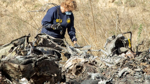<p>               FILE - In this Jan. 27, 2020, file photo, released by the National Transportation Safety Board, NTSB investigator Carol Hogan examines wreckage as part of the NTSB's investigation of a helicopter crash near Calabasas, Calif., that killed former NBA basketball player Kobe Bryant, his 13-year-old daughter, Gianna, and seven others. Federal safety investigators bypassed aviation regulators on Tuesday, June 2, 2020, and urged leading helicopter manufacturers to install so-called black boxes that would help determine the cause of crashes such as the one that killed former NBA star Kobe Bryant.(James Anderson/National Transportation Safety Board via AP, File)             </p>