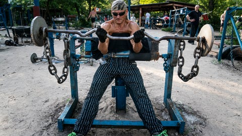 <p>               In this photo taken on Saturday, June 6, 2020, Andriy Demyanchenko prepares to lift weight in the outdoors gym on the Dolobetskiy island on the Dnipro River in Kyiv, Ukraine. Relishing an opportunity to do exercise after a long lockdown, hundreds of Kyiv residents flock to an improvised outdoor workout on an island facing the Ukrainian capital. The Kachalka gym on the Dolobetskiy island on the Dnipro river has enjoyed broad popularity ever since it opened in 1966. (AP Photo/Evgeniy Maloletka)             </p>