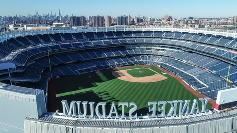 <p>               This March 26, 2020 file photo shows an empty Yankee Stadium on opening day due to COVID-19 coronavirus restrictions in the Bronx borough of New York. The Yankees and Mets would train in New York if Major League Baseball and its players try to start the coronavirus-delayed season. New York Gov. Andrew Cuomo made the announcement Saturday, June 20, 2020, and the teams confirmed the decisions. (John Woike/Samara Media via AP)             </p>