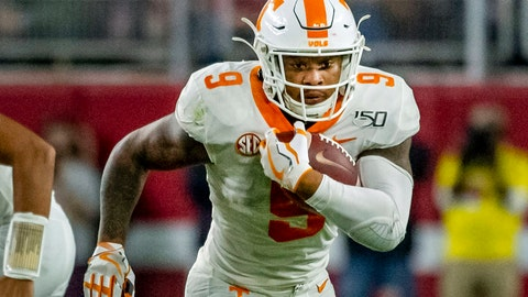 <p>               FILE - In this Oct. 19, 2019, file photo,Tennessee running back Tim Jordan (9) carries the ball during the first half of an NCAA college football game against Alabama in Tuscaloosa, Ala. Tennessee coach Jeremy Pruitt says running back Tim Jordan is no longer on the team after he was arrested May 30 in Florida on gun and marijuana charges. (AP Photo/Vasha Hunt, File)             </p>