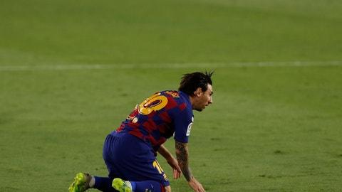 <p>               Barcelona's Lionel Messi reacts during the Spanish La Liga soccer match between Sevilla and FC Barcelona at the Ramon Sanchez-Pizjuan stadium in Seville, Spain, Friday, June 19, 2020. (AP Photo/Angel Fernandez)             </p>