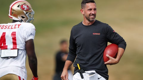 <p>               FILE - In this Aug. 16, 2019, file photo, San Francisco 49ers head coach Kyle Shanahan, right, jokes with cornerback Emmanuel Moseley during a combined NFL football training camp with the Denver Broncos at the Broncos' headquarters in Englewood, Colo. Commissioner Roger Goodell told the 32 NFL clubs on Thursday, June 4, 2020, that coaching staffs are allowed to return to team facilities starting Friday. (AP Photo/David Zalubowski, File)             </p>