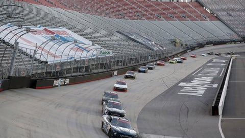 <p>               Drivers make their way around the track past empty stands during a NASCAR Xfinity Series auto race at Bristol Motor Speedway Monday, June 1, 2020, in Bristol, Tenn. The race is being run without fans in the stands due to the coronavirus outbreak. (AP Photo/Mark Humphrey)             </p>