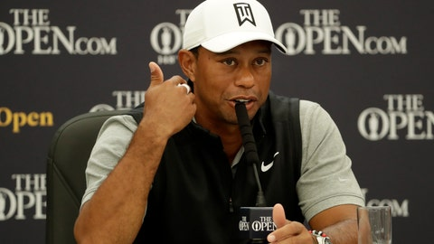 <p>               FILE - In this July 16, 2019, file photo, Tiger Woods speaks at a press conference ahead of the start of the British Open golf championships at Royal Portrush in Northern Ireland. Woods responded to the protests and some of the violence around the country by saying points can be made without destroying property. (AP Photo/Matt Dunham, File)             </p>