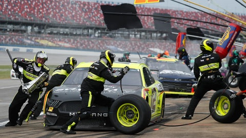 <p>               Ryan Blaney (12) gets service in the pits during a NASCAR Cup Series auto race at Talladega Superspeedway in Talladega Ala., Monday, June 22, 2020. (AP Photo/John Bazemore)             </p>