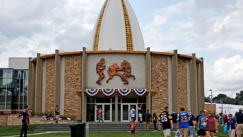 <p>               FILE - In this Aug. 5, 2017, file photo, football fans toss footballs on the lawn outside the Pro Football Hall of Fame in Canton, Ohio. The Pro Football Hall of Fame will reopen Wednesday, June 10, 2020, after nearly a three-month hiatus due to the coronavirus pandemic. (AP Photo/Gene J. Puskar, File)             </p>